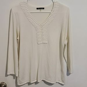 Cable & Gauge White Lightweight Sweater sz Lg